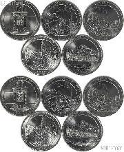 2010 National Park Quarters Complete Set P & D Uncirculated (10 Coins) AR, WY, CA, AZ, OR