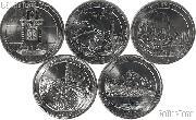 2010 National Park Quarters Complete Set Denver (D) Mint  Uncirculated (5 Coins) AR, WY, CA, AZ, OR