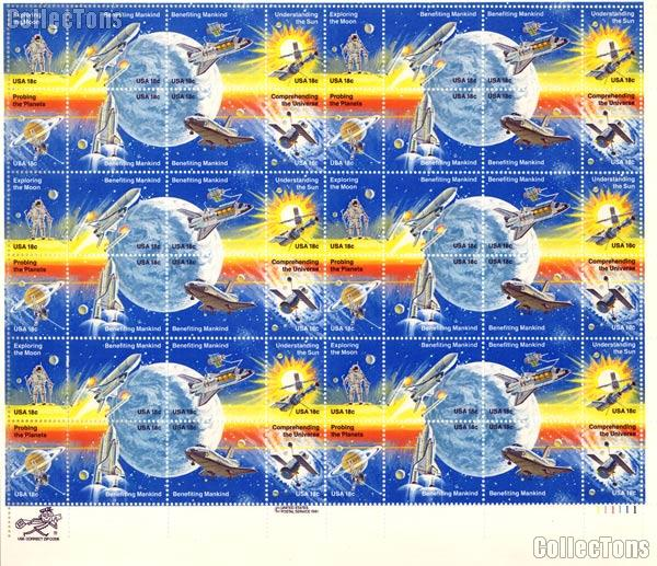 1981 Space Achievement 18 Cent Us Postage Stamp Sheet Mnh