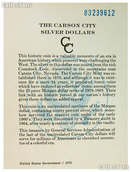 1883 GSA Carson City Silver Dollar Government Issued OGP Replacement Certificate of Authenticity COA