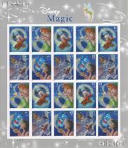 2007 United States Magic - Art of Disney 41 Cent US Postage Stamp Unused Sheet of 20 Scott #4192 - #4195