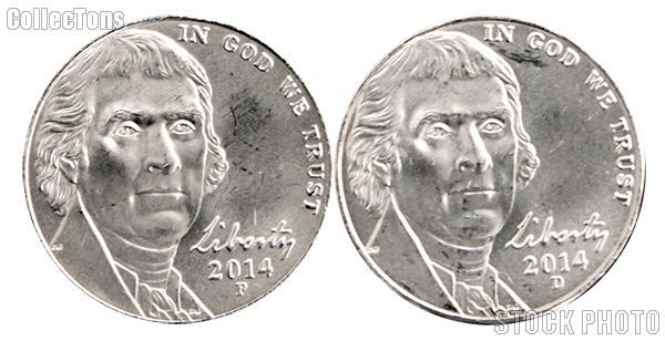 2014 P & D Jefferson Nickels Gem BU (Brilliant Uncirculated)
