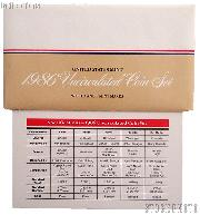 1986 U.S. Mint Uncirculated Set OGP Replacement Envelope and COA