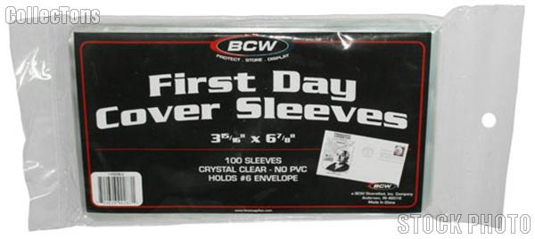 First Day Cover Sleeves by BCW 100 Sleeves for First Day Covers and #6 Envelopes
