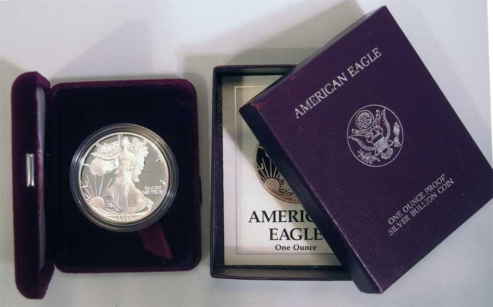 1988 Silver Eagle Proof In Box With Coa 1988 S American