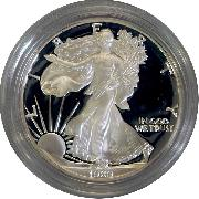 1989 Silver Eagle PROOF In Box with COA 1989-S American Silver Eagle Dollar Proof
