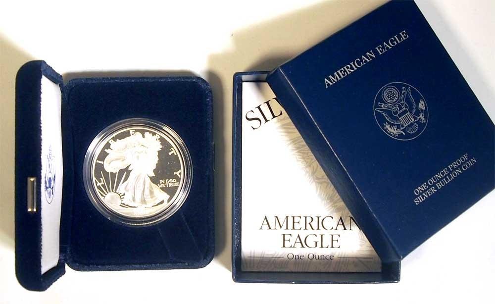2001 Silver Eagle PROOF In Box with COA 2001-W American Silver Eagle Dollar Proof