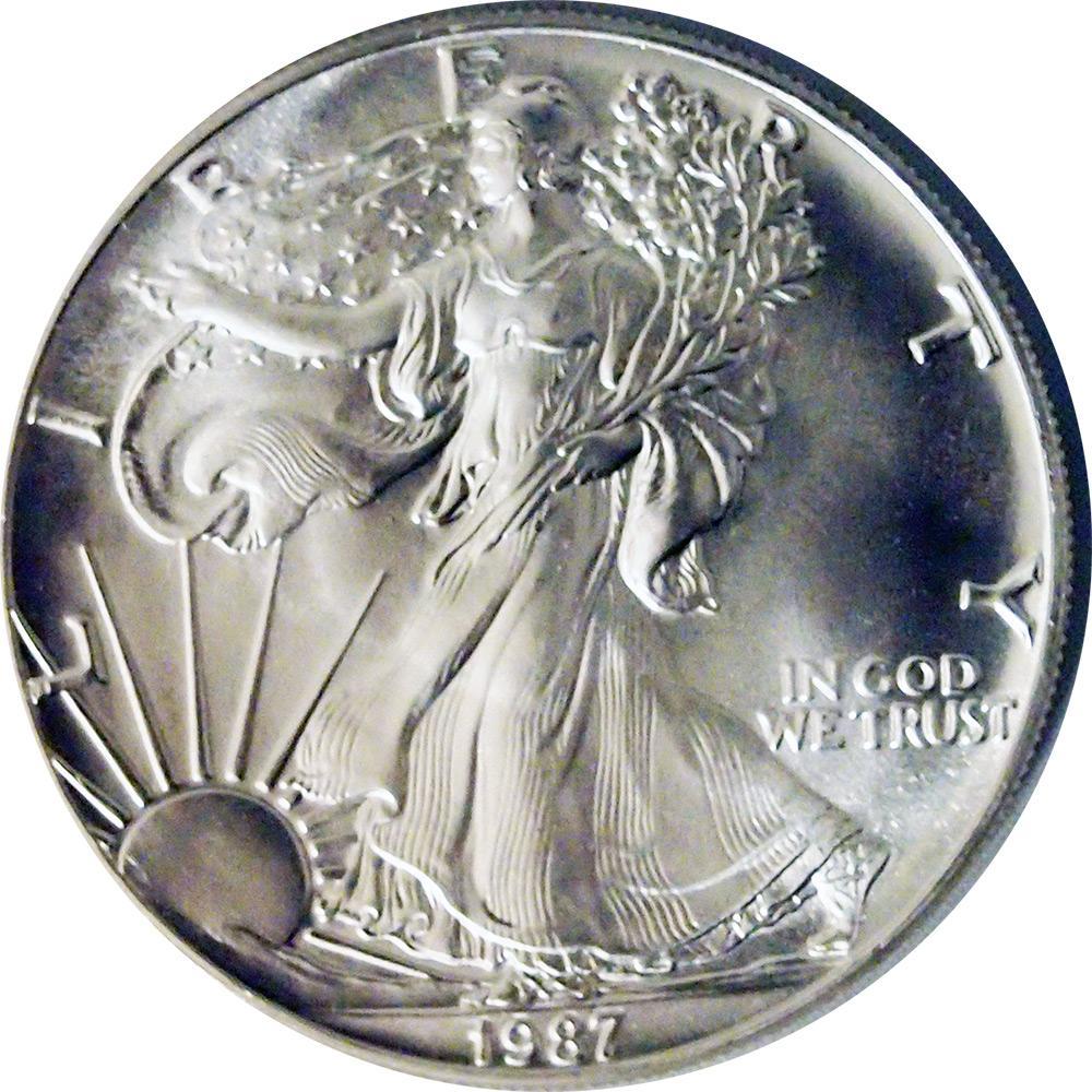 1987 American Silver Eagle Dollar Bu 1oz Silver