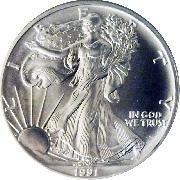 1991 American Silver Eagle Dollar BU 1oz Silver Uncirculated Coin