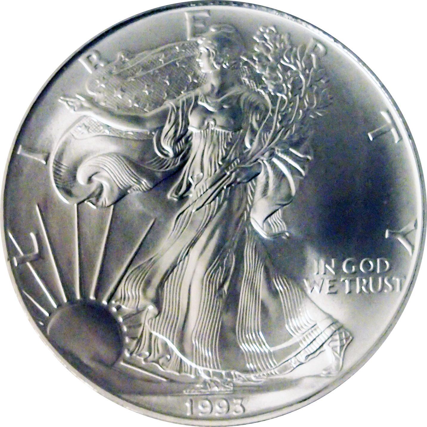 1993 American Silver Eagle Dollar Bu 1oz Silver
