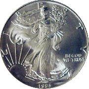 1995 American Silver Eagle Dollar BU 1oz Silver Uncirculated Coin