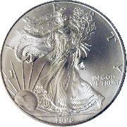 1996 American Silver Eagle Dollar BU 1oz Silver Uncirculated Coin