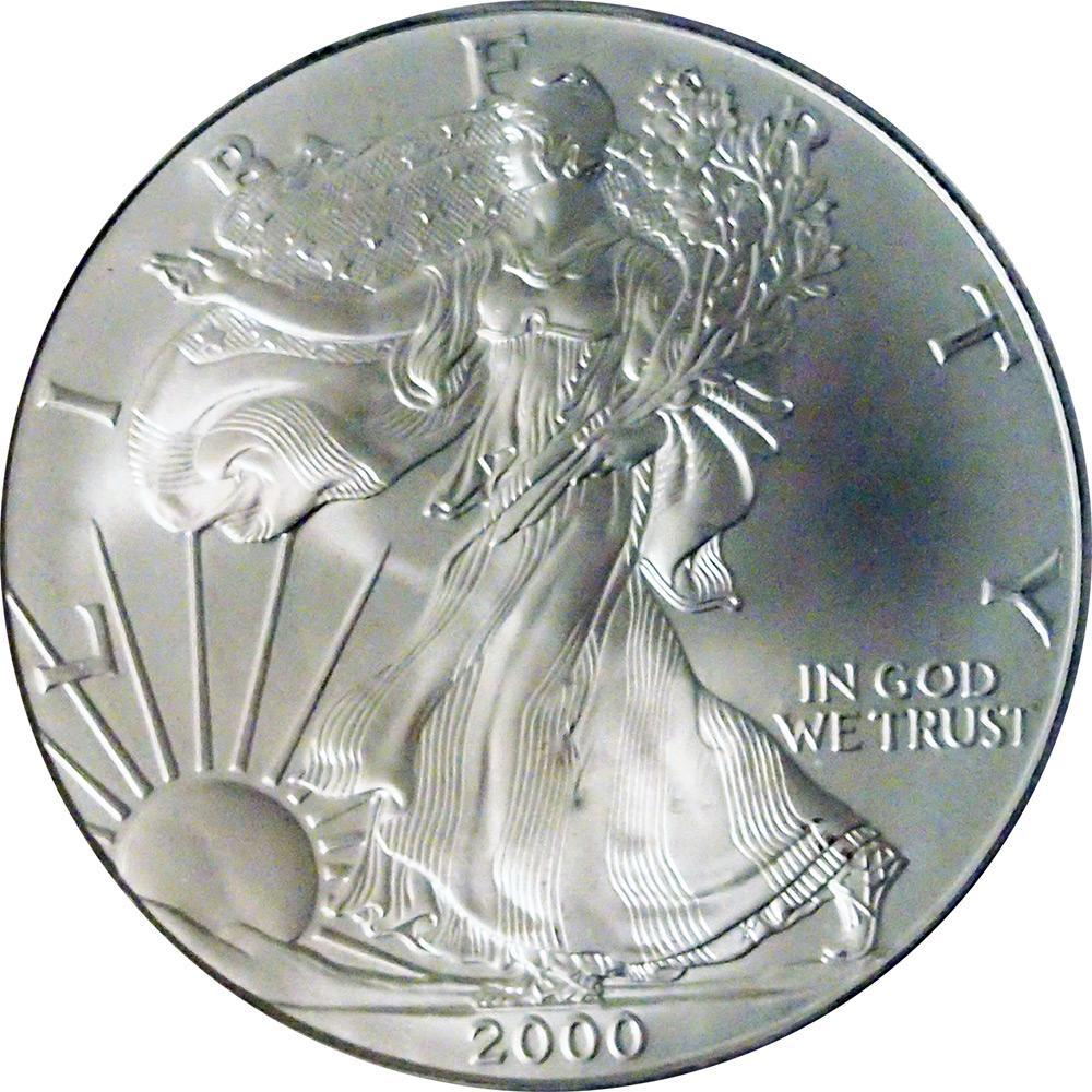 2000 American Silver Eagle Dollar Bu 1oz Silver