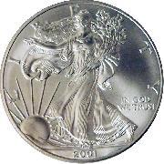 2001 American Silver Eagle Dollar Bu 1oz Silver