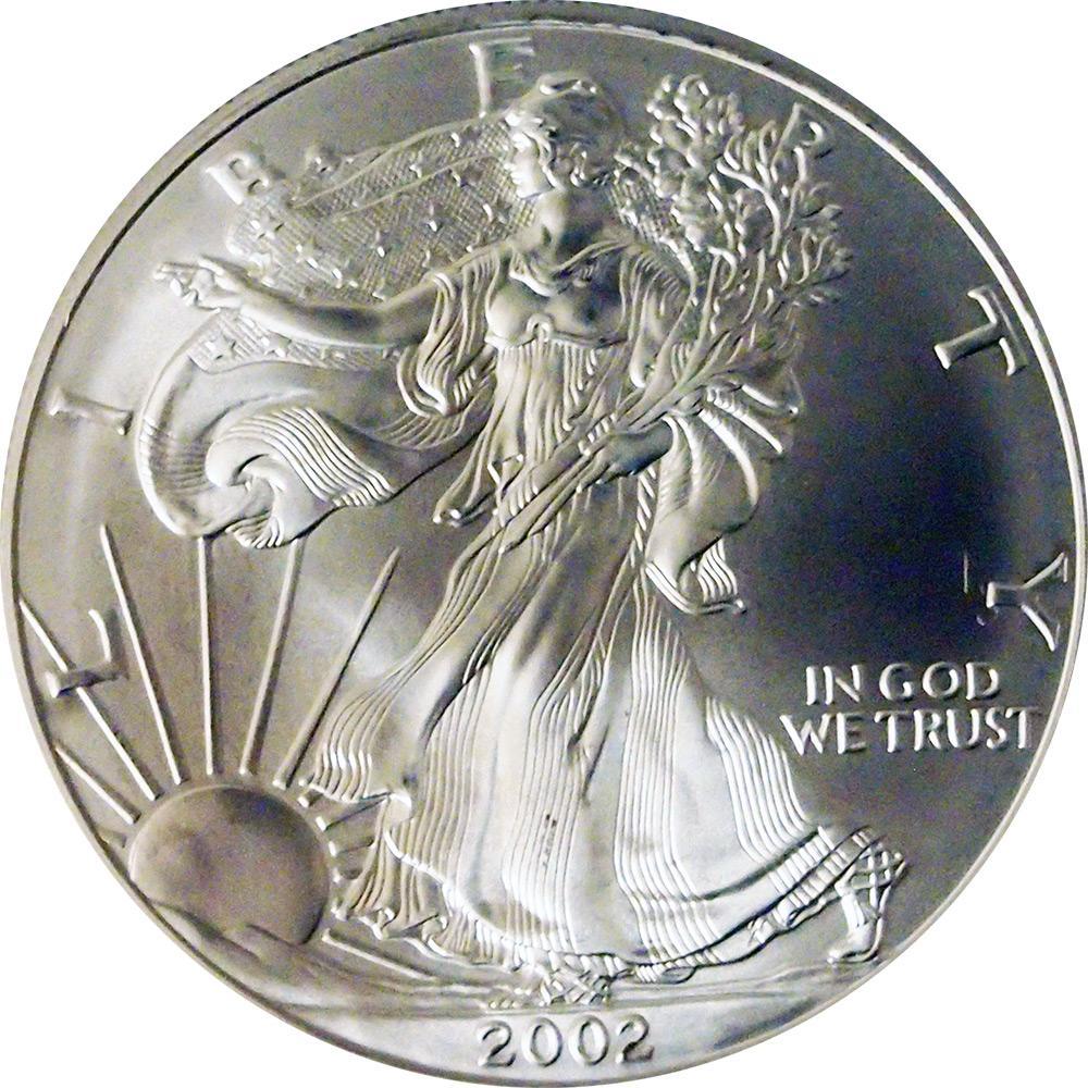 2002 American Silver Eagle Dollar Bu 1oz Silver