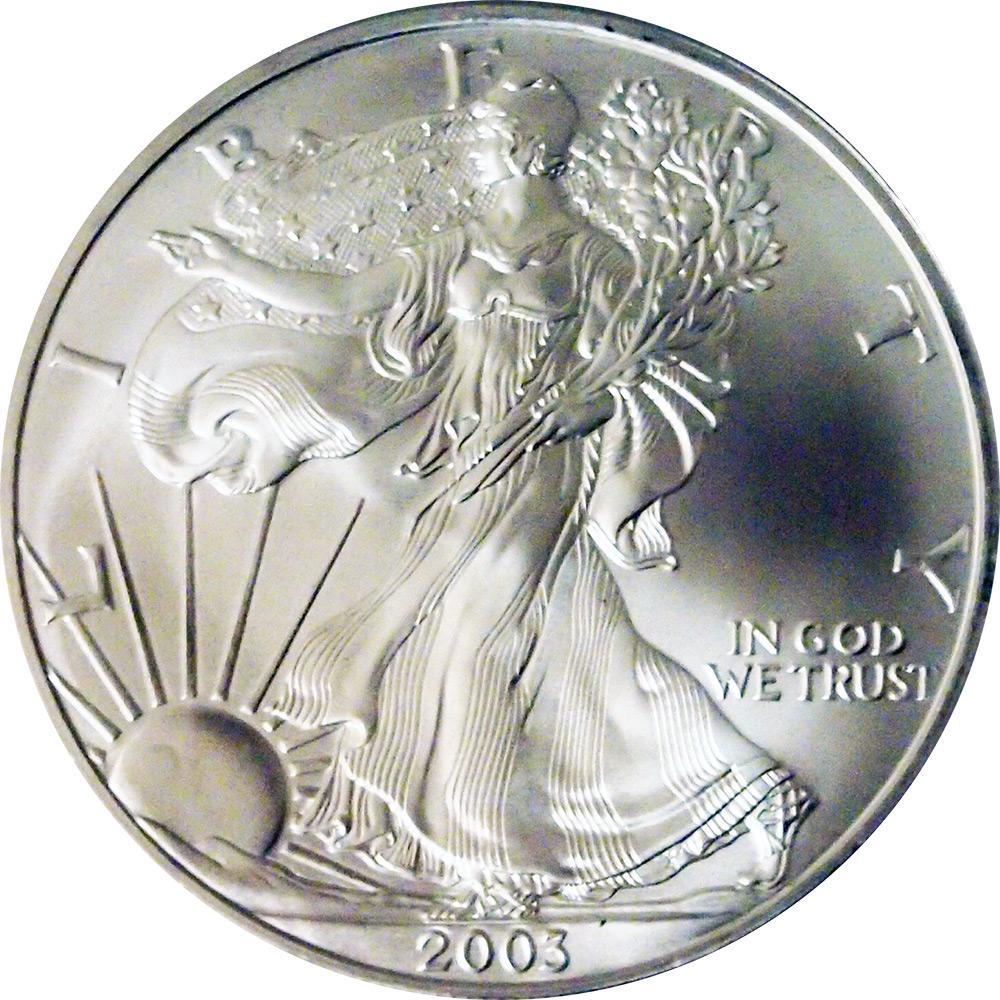 2003 American Silver Eagle Dollar Bu 1oz Silver