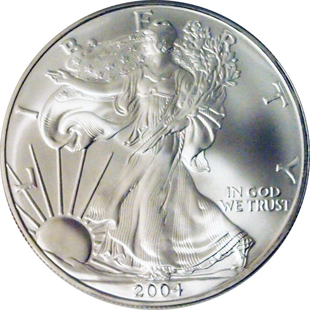 2004 American Silver Eagle Dollar Bu 1oz Silver