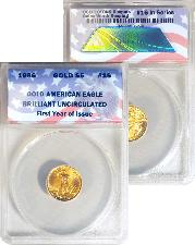 CollecTons Keepers #16: 1986 Uncirculated American Gold Eagle $5 Coin Certified in Exclusive ANACS Brilliant Uncirculated Holder