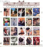 2001 American Illustrators 34 Cent US Postage Stamp Unused Sheet of 20 Scott #3502