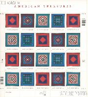 2001 American Treasures Series Amish Quilts 34 Cent US Postage Stamp Unused Sheet of 20 Scott #3524-#3527