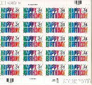 2002 Happy Birthday 34 Cent US Postage Stamp Unused Sheet of 20 Scott #3558
