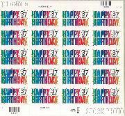 2002 Happy Birthday 37 Cent US Postage Stamp Unused Sheet of 20 Scott #3695
