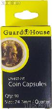 Guardhouse Box of 10 Coin Capsules for QUARTERS (24.3mm)