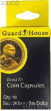 Guardhouse Box of 10 Coin Capsules for SMALL DOLLARS (26.5mm)