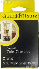 Guardhouse Box of 10 Coin Capsules for SILVER ROUNDS (39mm)