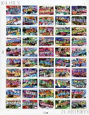 2002 Greetings From America 34 Cent US Postage Stamp Unused Sheet of 50 Scott #3561 - #3610