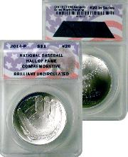 CollecTons Keepers #20: 2014-P National Baseball Hall of Fame Brilliant Uncirculated Commemorative Silver Dollar Certified in Exclusive ANACS Brilliant Uncirculated Holder