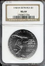 1983-D Discus Thrower Olympic Commemorative Uncirculated Silver Dollar in NGC MS 69