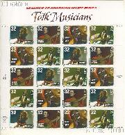 1998 American Music Series - Folk Musicians 32 Cent US Postage Stamp MNH Sheet of 20 Scott #3212-#3215
