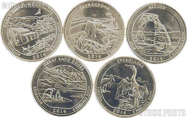 2014 National Park Quarters Complete Set Philadelphia (P) Mint  Uncirculated (5 Coins) TN, VA, UT, CO, FL