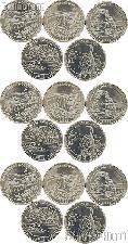 2014 National Park Quarters Complete Set P & D & S Uncirculated (15 Coins) TN, VA, UT, CO, FL
