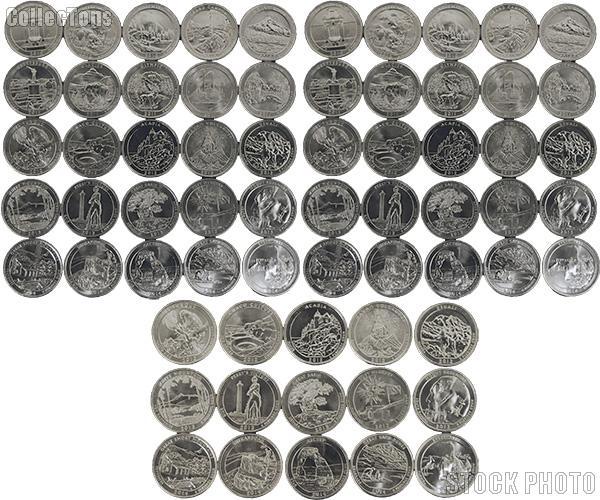 P Mint 5 Coins 2014 Complete Set Of Colorized Set Of National Park Quarters