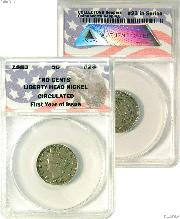 """CollecTons Keepers #23: 1883 """"NO CENTS"""" Liberty Head Nickel Certified in Exclusive ANACS Holder"""