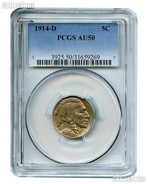 1914-D Buffalo Nickel in PCGS AU 50