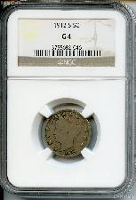 1912-S Liberty Head V Nickel KEY DATE in NGC G 4