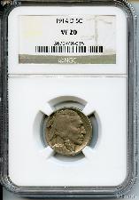 1914-D Buffalo Nickel in NGC VF 20