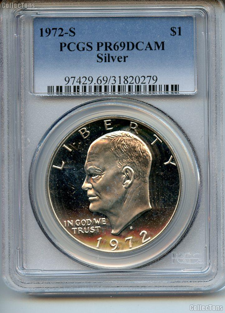 1972-S Eisenhower Silver PROOF Dollar in PCGS PR 69 DCAM
