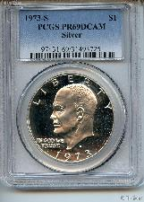 1973-S Eisenhower Silver PROOF Dollar in PCGS PR 69 DCAM