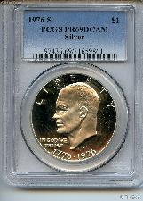 1976-S Eisenhower BICENTENNIAL Silver PROOF Dollar in PCGS PR 69 DCAM