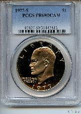 1977-S Eisenhower Clad PROOF Dollar in PCGS PR 69 DCAM