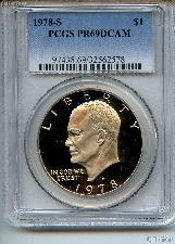 1978-S Eisenhower Clad PROOF Dollar in PCGS PR 69 DCAM