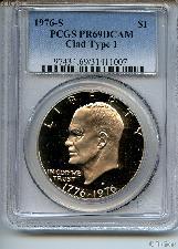 1976-S Eisenhower BICENTENNIAL Clad PROOF Dollar Type 1 in PCGS PR 69 DCAM