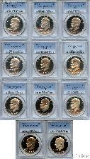 "Eisenhower ""Ike"" PROOF Dollar Complete 11 Coin Set in PCGS PR 69 DCAM"