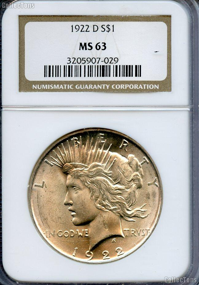 1922 D Peace Silver Dollar In Ngc Ms 63