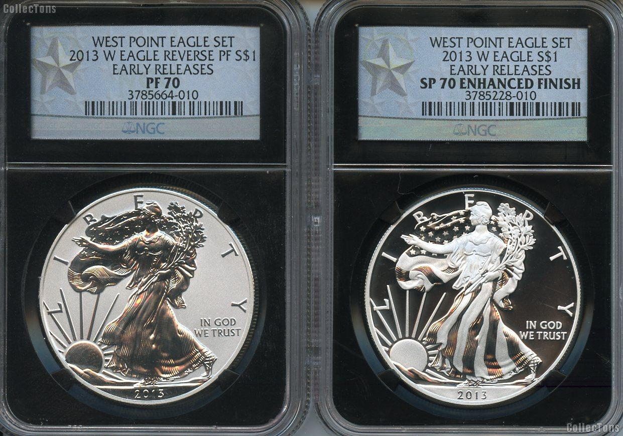 2013 W American Silver Eagle 2 Coin Set In Ngc Pf 70 Amp Sp