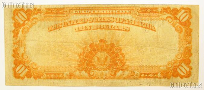 Ten Dollar Bill Gold Certificate Large Size Series 1922 US Currency Good or Better